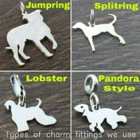 Cockerpoo dog Charm with a heart  silhouette solid sterling silver